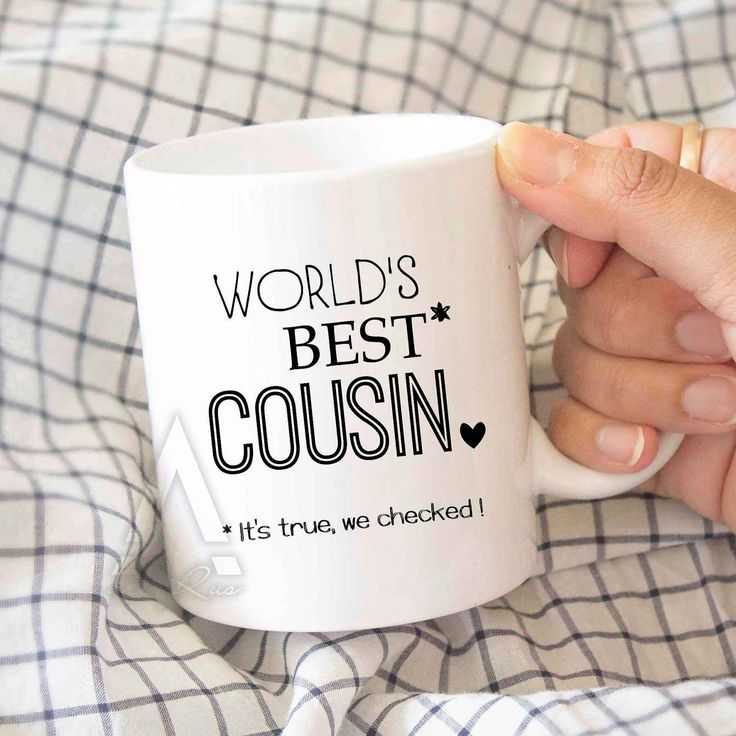 "gifts for cousin, christmas gift ""World's best cousin"" funny coffee mug, birthday gift for cousin, wedding gift, cousin quotes MU508 by artRuss on Etsy"
