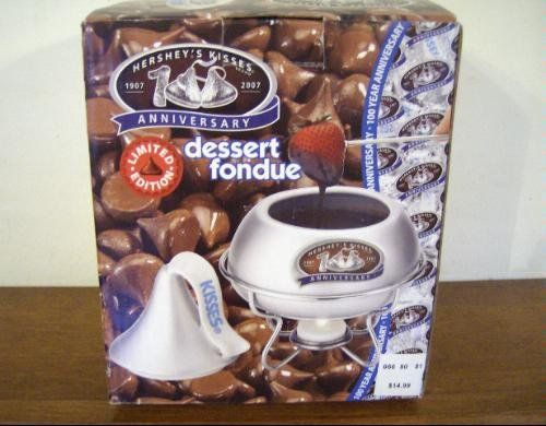 HERSHEY'S KISSES 100% ANNIVERSARY DESSET FONDUE by HERSHEY COMPANY. $27.99. Ideal for chocolate and other dessert fondue recipes.. This can be used as a candy dish when not in use as a fondue. Fondue Pot has the Hershey's Kisses and shows a 100 Year Anniversary Logo. This Hershey's Kisses Dessert Fondue Set is sure to be a hit at your next get-together. Limited Edition. Set Includes: Ceramic Fondue Cover, Ceramic Fondue Pot, Ceramic Fondue Stand, 4 Fondue Forks and Tea Light