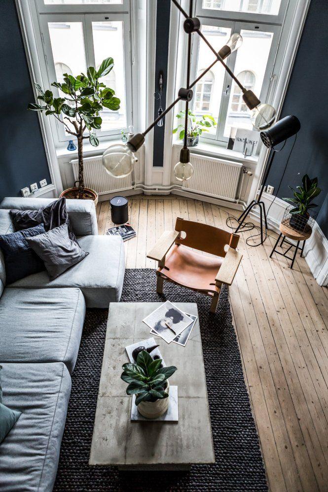 Post: Mesa auxiliar de cemento --> decoración en azul y gris, decoración masculina, decoración oscura, estilo nórdico, Mesa auxiliar de cemento, muebles de cemento, atico, escalera, textiles, interior styling, interior inspiration, home decor, scandinavian interiors