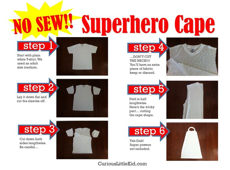 no sew superhero cape--cut up old T-shirt, have child decorate with fabric paint or markers--would be fun party activity!!!