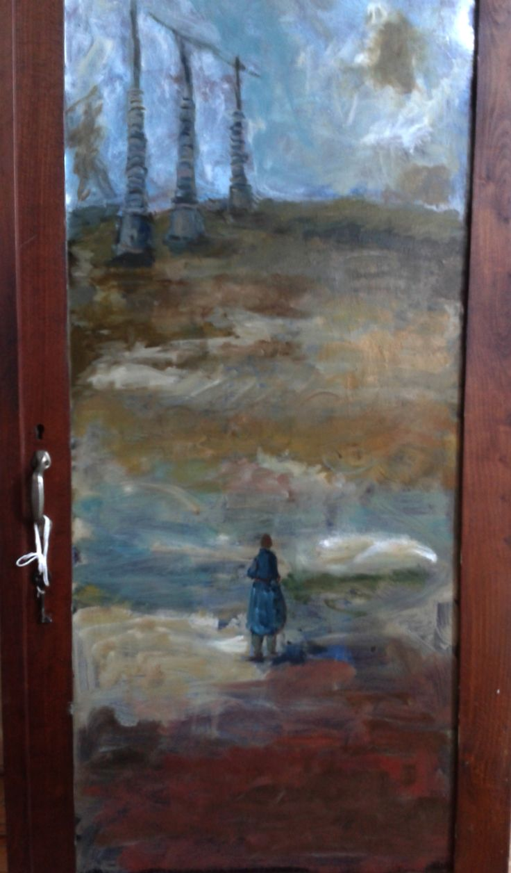 pintura oleo sobre madera (puerta de armario antiguo) 150 x 30 título: sin destino
