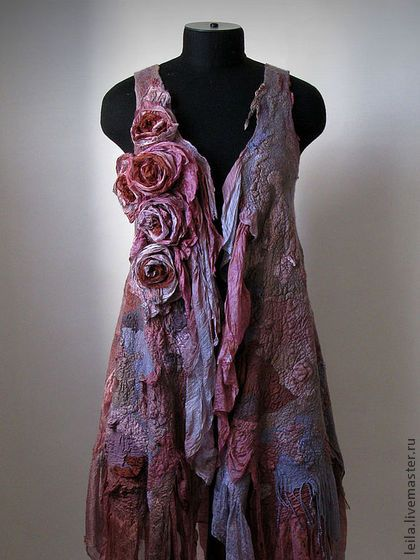 "felted and other dress by ABDULLAH LAILA ""Waltz of the Flowers"". Handmade."