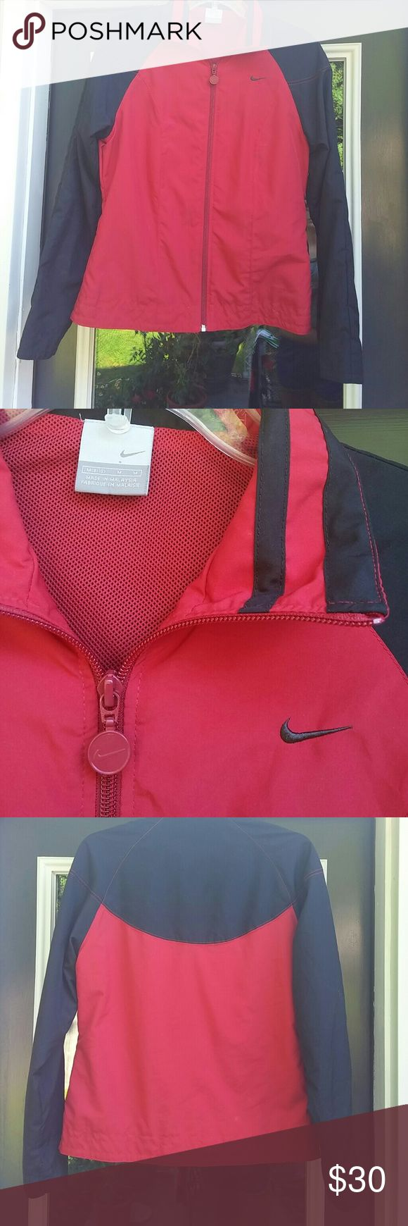 Red nike windbreaker Very cute! Excellent condition ! Nike Jackets & Coats