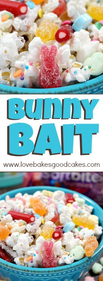 Bunny Bait is candy-coated popcorn, cereal, and pretzel sticks mixed with plenty of sprinkles and Easter candy. Great for treat bags, Easter baskets, movie night, or general snacking! AD