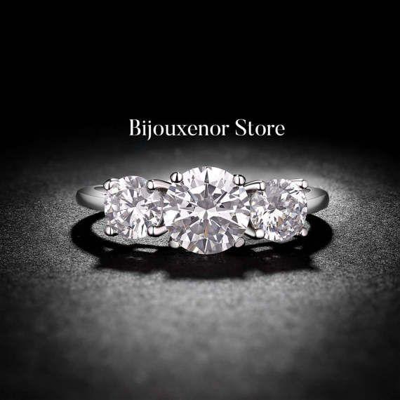 Pear Truffle 3 diamond 14K White Gold by BijouxenorStore on Etsy
