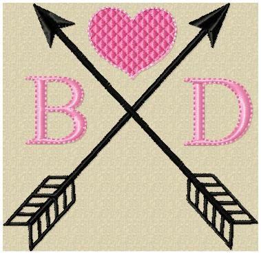 Machine Embroidery Design  Heart Arrow Design  by BlingSassSparkle
