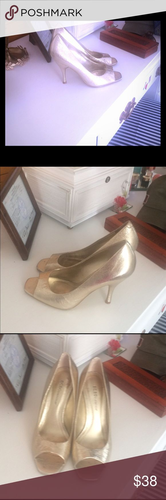 Bcbg Max gold peep toe heels Bcbg Max gold peep toe heels. Worn one time for family pictures at my mothers home indoors. Perfect condition , quality is perfect new condition. No imperfections. Shoes Heels