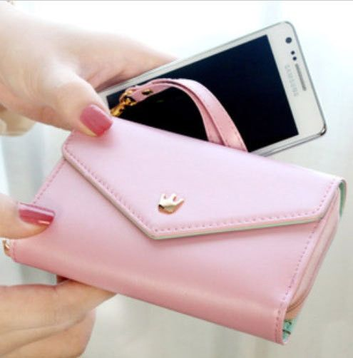 11$ For Multi Fonctions Cutte PU Wallet For Women Light Pink