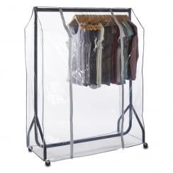 Black 4 ft Wide Heavy-Duty Clothes Rail with Double-Zip Clear Rail Cover - H1550 x W1220 mmhttp://www.shopfittingwarehouse.co.uk