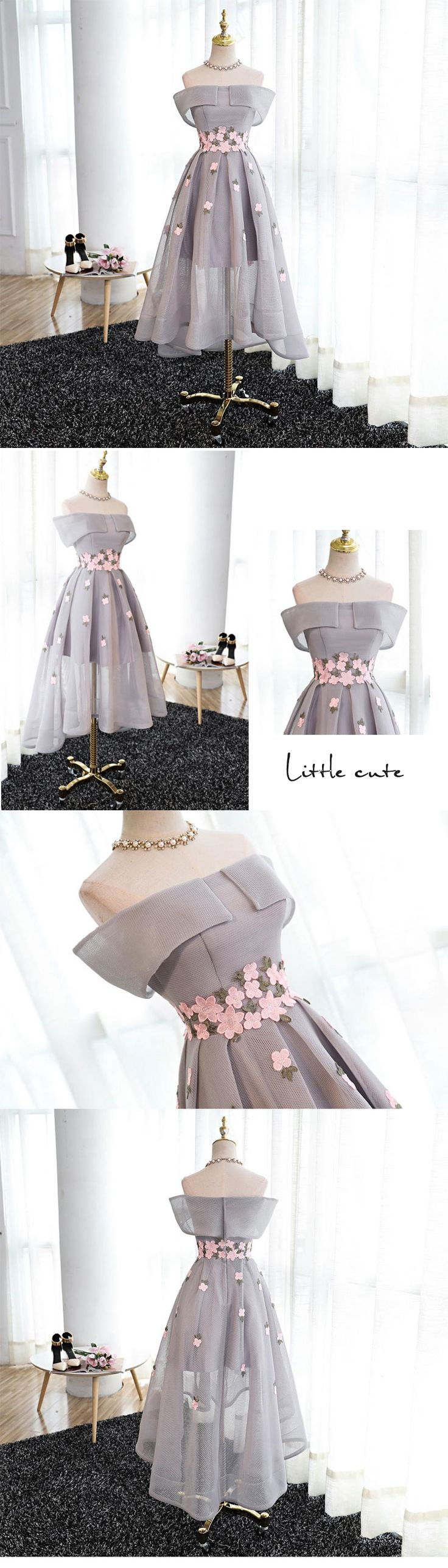 Little Cute | Stylish A line high low off shoulder short prom dress, homecoming dress | Online Store Powered by Storenvy