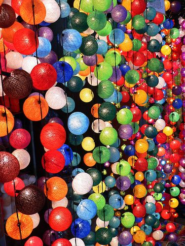 Colourful Lights, Night Market, Chiang Mai, Thailand by HellonEarth2006, via Flickr