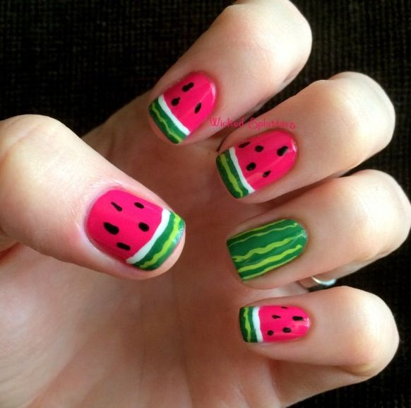 Watermelon nails, perfect for #summer