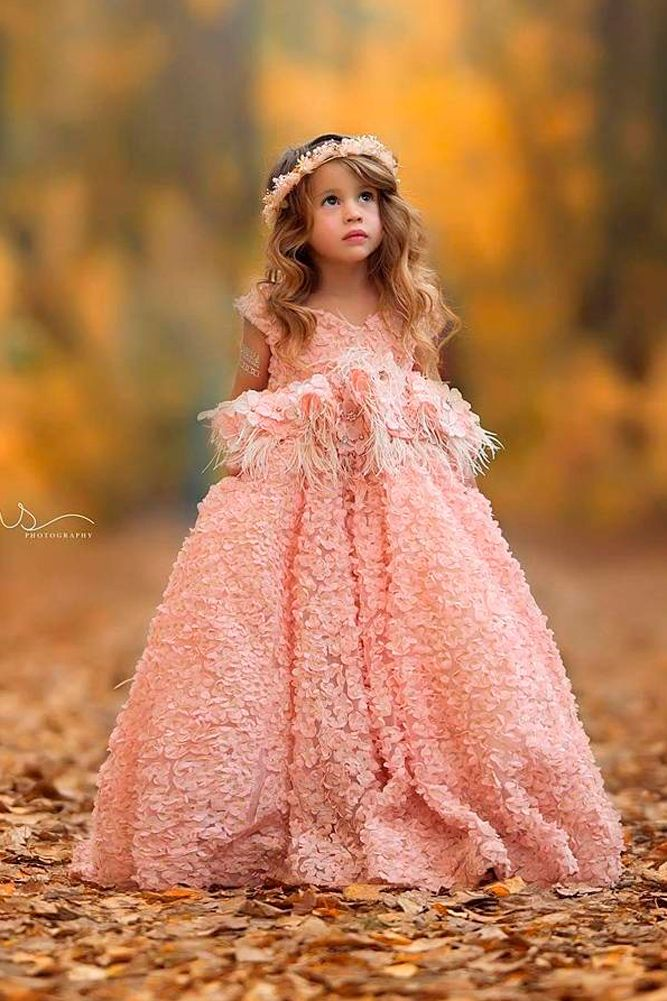 f7d6b32c3d1 lace flower girl dresses blush ball gown cap sleeves floral applique anna  triant couture