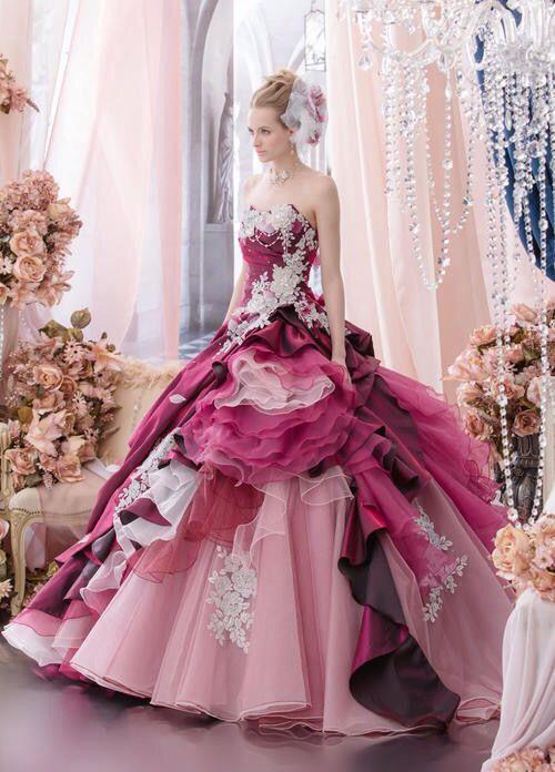 Dark Pink to Light Pink Lace Embellished Layered Skirt Ballgown