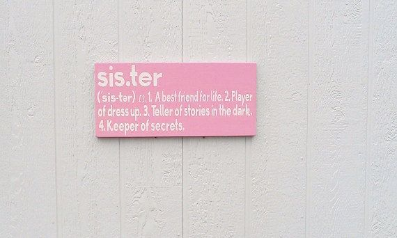 READY TO SHIP Sister Definition Wood Sign Pink by RedBarnSignCo, $45.00