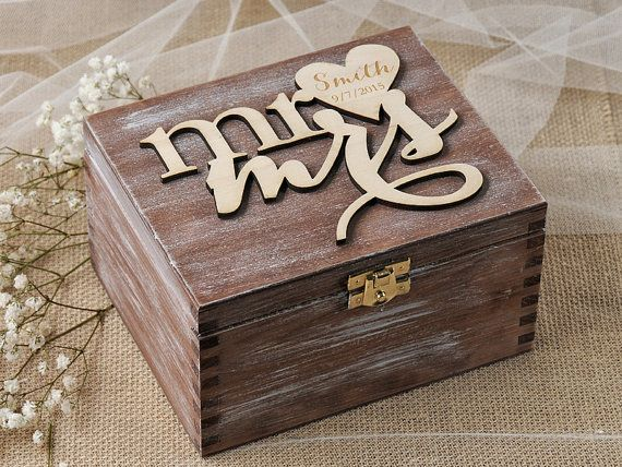 Rustic Ring Bearer Box Heart Wedding Ring Box by 4LOVEPolkaDots, $50.00