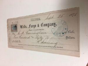 Original 1875 Wells Fargo & Co San Francisco $100 Franked Check #3    eBay