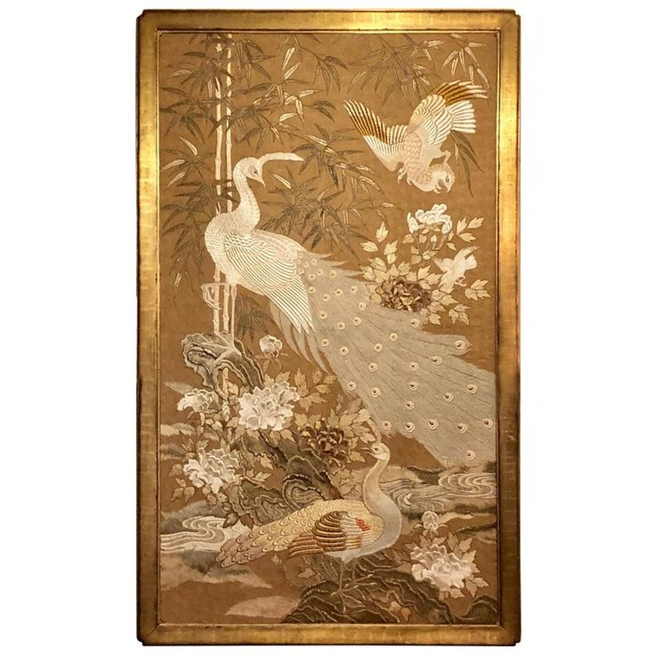 1stdibs Silk Antique Japanese Panel Painting / Screen