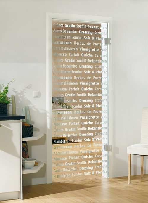 clear kitchen door w/ text --- good idea so you won't run into it thinking the door is open, which some people do in the office
