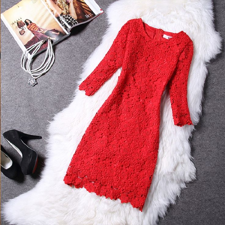 ==> [Free Shipping] Buy Best Brieuces 2017 spring and winter dress lace women one-piece dress three quarter sleeve bridesmaid formal dress Online with LOWEST Price | 32582625946