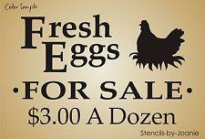 Lg STENCIL Fresh Eggs For Sale Hen Nest Chicken Prim Country Farm Yard Rd Signs