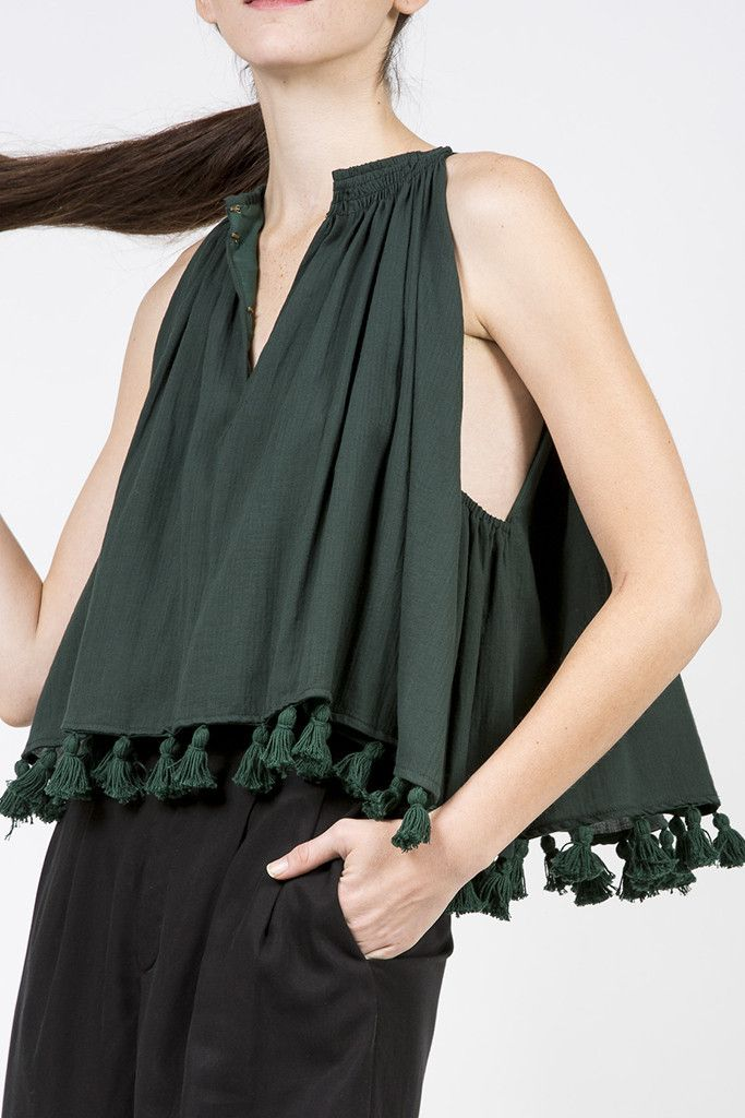 Galisteo Wabi Sleeveless Top, Mallard by Apiece Apart #kickpleat #apieceapart