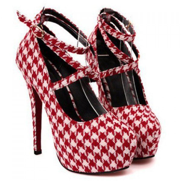 OH EM GEE!! Sexy Houndstooth and Cross-Straps Design Women's Pumps, CHECKED, 37 in Pumps | DressLily.com