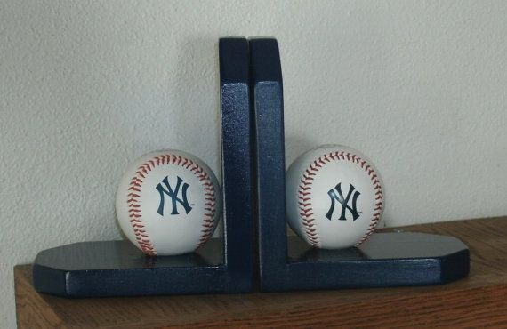 Baseball Bookends Navy Blue Yankees Theme by Midwestclassiccrafts, $27.95