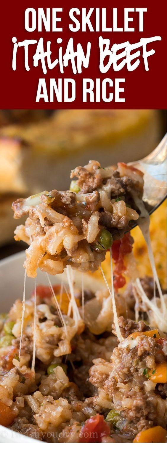 Italienische Rindfleisch- Und Reisbratpfanne