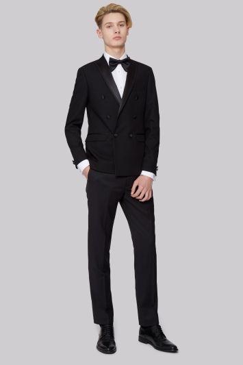 Moss London Slim Fit Black Double Breasted Dress Jacket