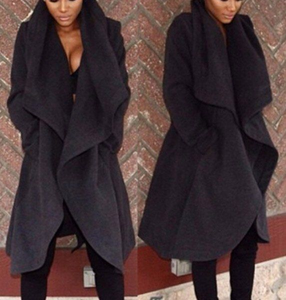 Chic Turn Down Collar Coat £23.00 Available On Our Website  www.kandiclothesboutique.com