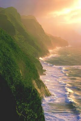 Napali Coast, Kauai I have been here it is absolutely breathtaking!  Will go back again someday :-)