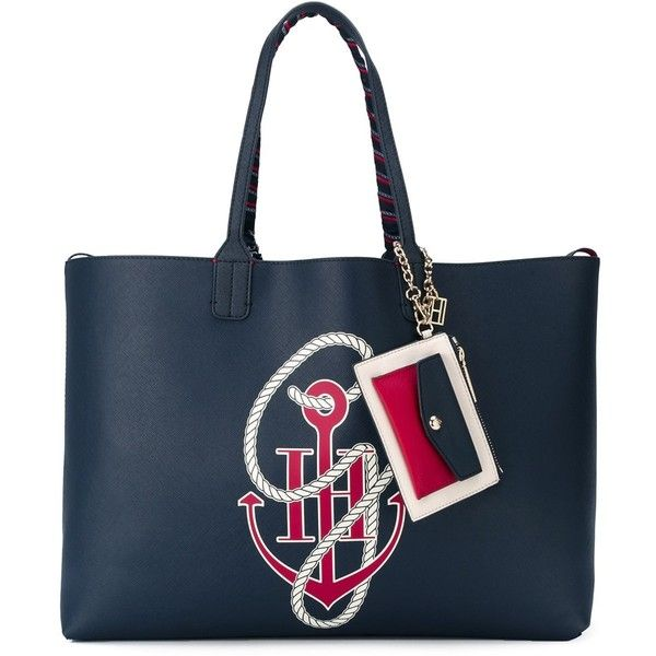 Tommy Hilfiger Tommy X Gigi Hadid Anchor Print Tote Bag ($168) ❤ liked on Polyvore featuring bags, handbags, tote bags, blue, tote hand bags, handbags totes, tote bag purse, blue handbags and tommy hilfiger purses