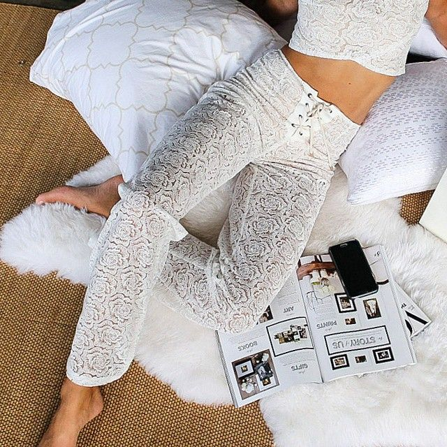 Afternoons in the office in our white lace tie up pants - Winona Australia