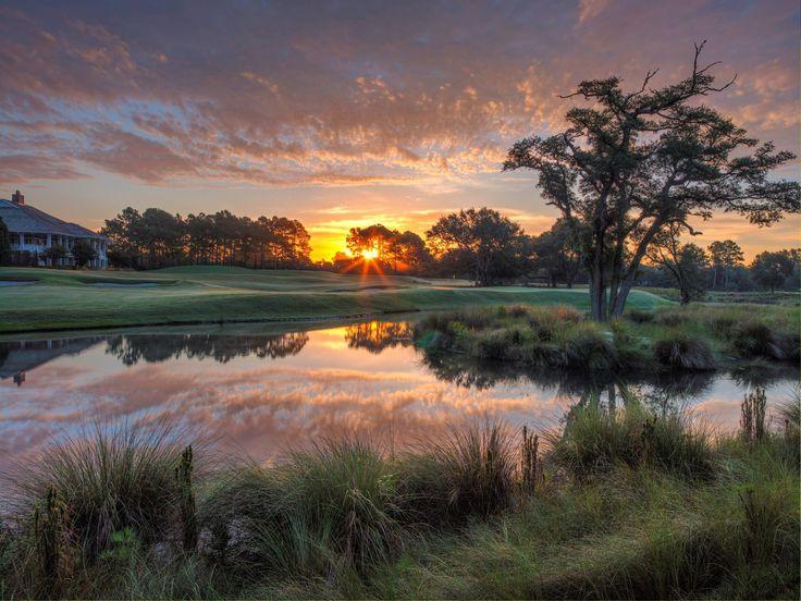 Sunset over Wells Fargo PGA Golf Tournament 2017