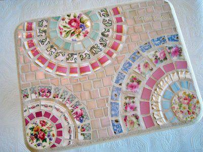 Mosaic bench, made with vintage china. Darling!