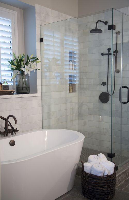 Master bathroom remodel, shower, free standing bath tub, calatta marble | Interior designer: Carla Aston/ Photographer: Tori Aston