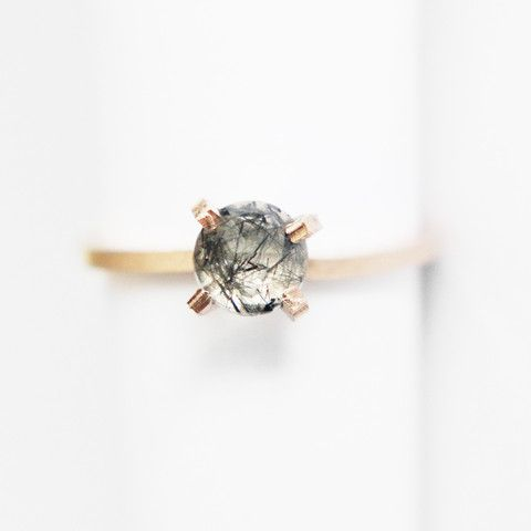 Rutilated Quartz Solitaire Ring in Gold or Sterling – Midwinter Co. - .5 Carat – Midwinter Co. Ethical Conflict Free Fair Trade Eco friendly USA made genuine engagement black oxidized