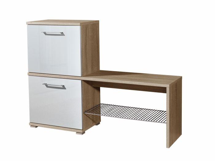 PRIMA Skoskåp med bänk Ljus Ek/Vit - Hallmöbler - Förvaring - I