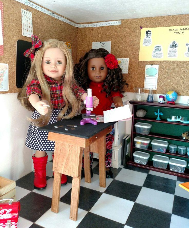 Today in the schoolroom...Maplelea Léonie and GOTY2017 Gabriela. Science lab partners.