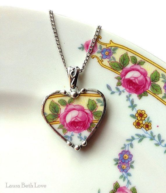 Broken china jewelry heart pendant Ornate Czech rose antique porcelain made from a broken plate