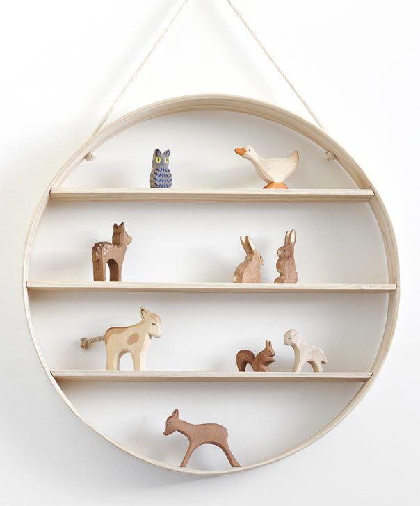 Bride & Wolfe hanging circle shelf: Wooden Animal, Bride Wolf, Circles Shelf, White Ash, Wooden Toys, Display Ideas, Baby, Display Shelves, Kids Rooms