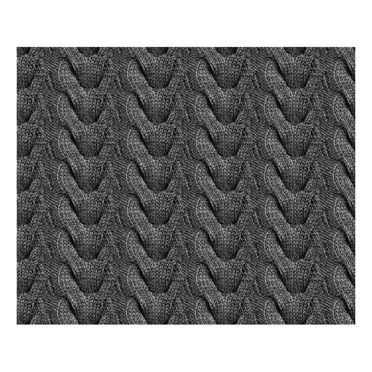 Bomuldsjersey - fotoprintet med koksgrå kabelstrik