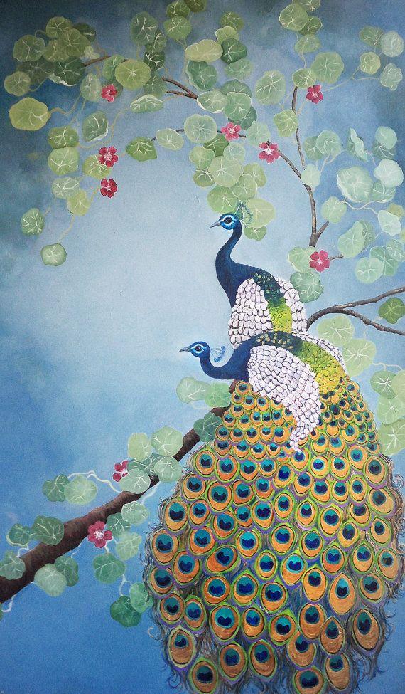 Print of a peacock illustration by erinhdavis on Etsy, $10.00