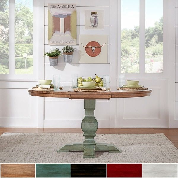 Eleanor Two Tone Oval Solid Wood Top Extending Dining Table By TRIBECCA HOME