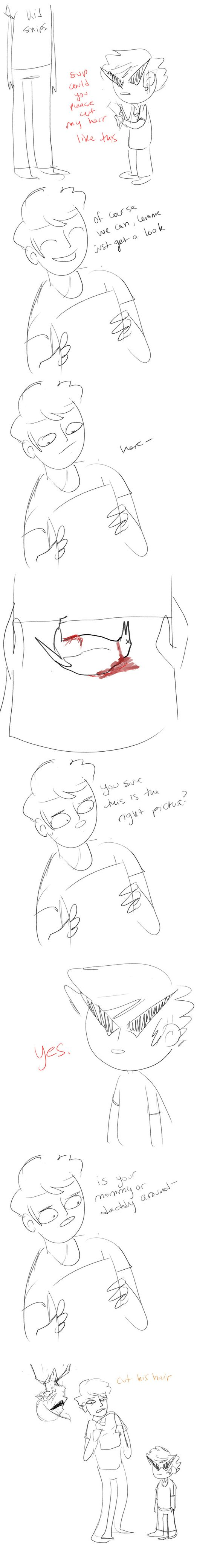 Dave's first haircut. (credit to http://tinkerlu.tumblr.com ) Haha, Oh my goodness, Bro in the last panel. XD