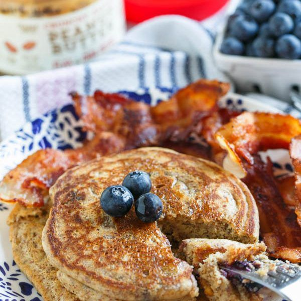 Blueberry peanut butter pancakes for two are the perfect breakfast for you and yours! They make just the right amount so you won't be stuck with leftovers!