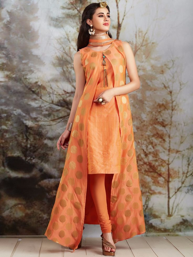 Double Layered Orange Silk Salwar Suit Buy Designer
