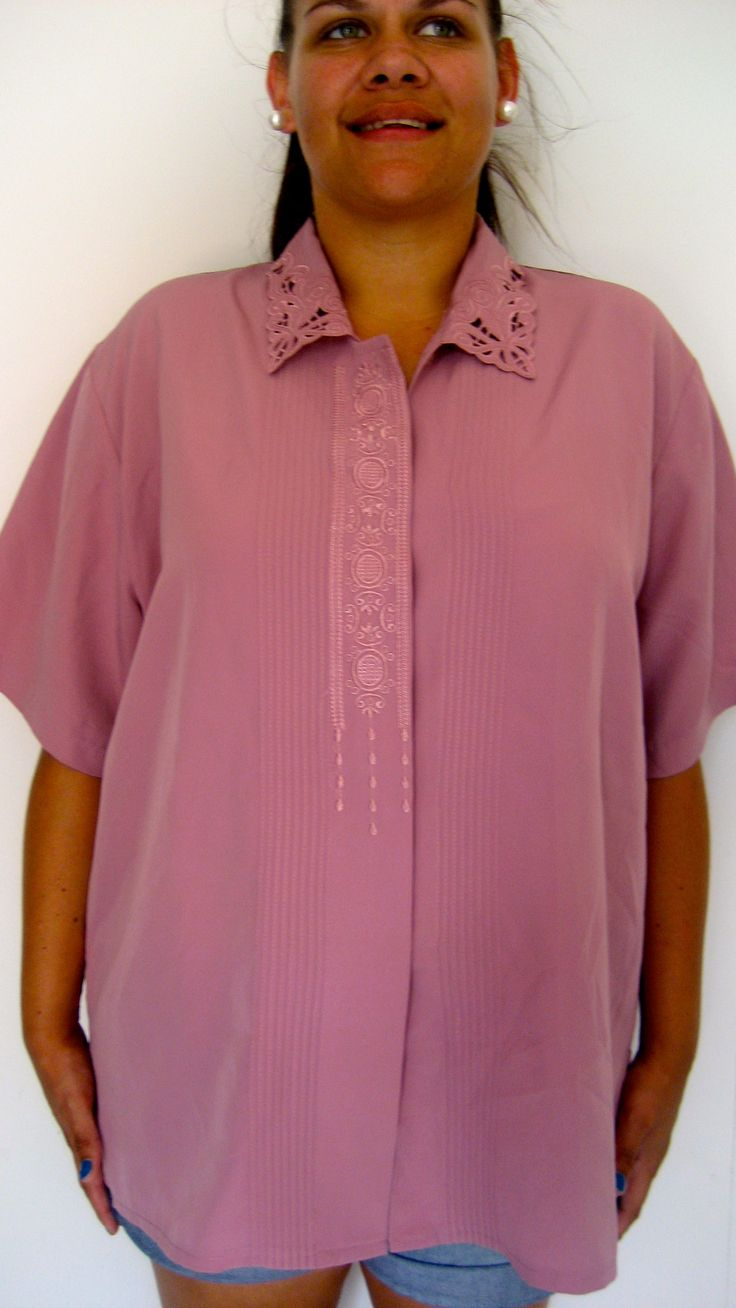 X-XL / AU 12-18 $25 L: 71cm B: 126cm    Mauve coloured vintage top with full button up front featuring a gorgeous embroider detail as well and a feature collar...