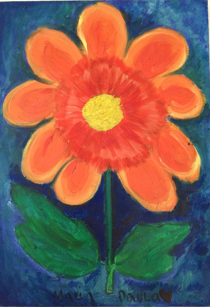 Lirio 40x50 Óleo al agua sobre lienzo Impresionismo